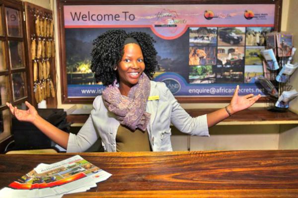 Receptionist at Island Safari Lodge in Maun, Botswana