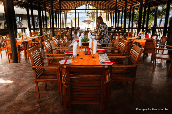 Dining at Nghunghwa Lodge in Bilene, Mozambique