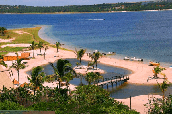 Beach at Nghunghwa Lodge in Bilene, Mozambique